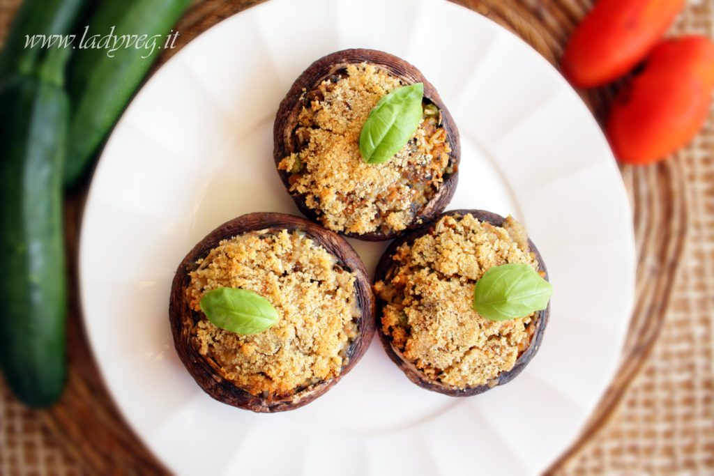 funghi portobello gratinati vegan