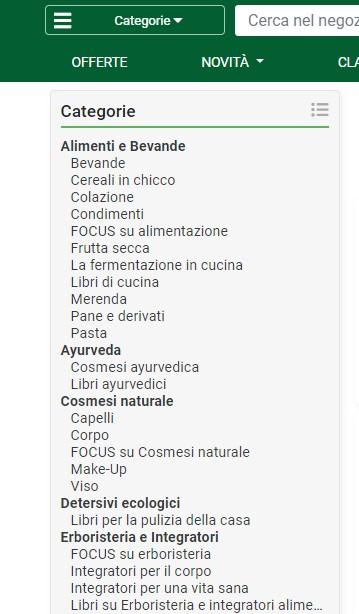 Categorie prodotti online
